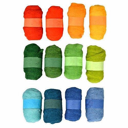 Creleo 790210 Lana Mega Conjunto de 12 para húmedo, seco registrara etc, Amarillo/Verde/Azul
