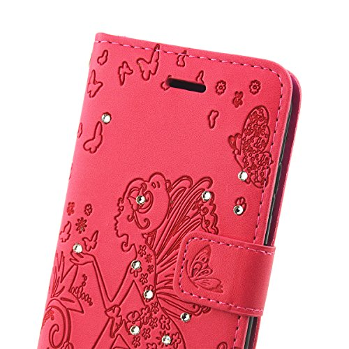 iPhone 7 Hülle,iPhone 7 Ledertasche Handyhülle Brieftasche im BookStyle,SainCat PU Leder Hülle Wallet Case Folio Schutzhülle Kristall Glitzer Diamant Strass Campanula Blume Muster Lederhülle Scratch B Blumen-Fee-Rose Red