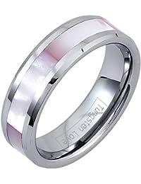 JewelryWe - Anillo señoras 6MM tungsteno de carburo brillante con concha de mejillón sintética rosa,