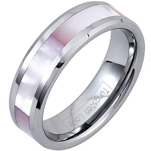 JewelryWe Schmuck 6mm Breite Glänzend Wolframcarbid Damen-Ring Engagement Hochzeit Band Ring mit Synthetisch Rosa Schale Inlay Größe 57