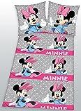 Herding 4477009050521 Bettwäsche Minnie Mouse, Kopfkissenbezug: 80 x 80 cm + Bettbezug: 135 x 200 cm, 100% Baumwolle, Linon