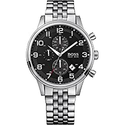 Hugo Boss - 1512446 - Gents Watch - Analogue Quartz - Black Dial - Chronograph - Stainless Steel Silver Strap