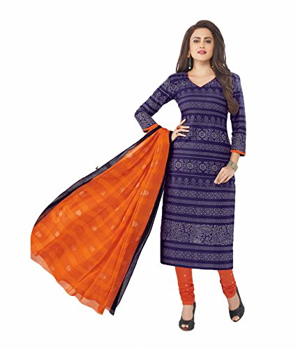 Miraan Women's Cotton Dress Material (SAN7015_Purple_One Size)