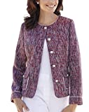 Womens Heather Valley Boucle Jacket With Trim To Neck And Cuff in Navy/Red