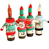 dytiying Creative Weihnachten Wein Flasche Strick Pullover, Kleid mit Hut-Set Weihnachten Party Dekorationen, Set 4