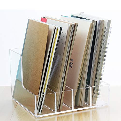 OR&DK Acrilico Portariviste, Ufficio Scatola di immagazzinaggio di File Portatile File Supporto della Cartella Rack di stoccaggio Notebook Trasparente-B