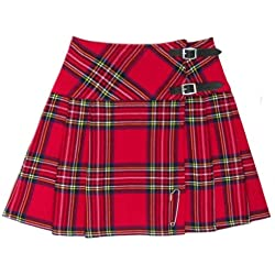 "Tartanista - Kilt/minifalda escocesa con correas - 41,9 (16,5"") - Royal Stewart - Rojo - EU38 UK10"