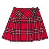 Damen Minikilt Rock-42 cm-Royal Stewart Muster mit Nadel - EU34 UK8