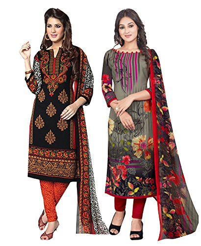 Ishin Combo of 2 Synthetic Multicolor Party Wear Wedding Wear Casyal Daily Wear Festive Wear Bollywood New Collection Latest Design Printed Unstitched Salwar Suit Dress Material (Anarkali/Patiyala) Wi
