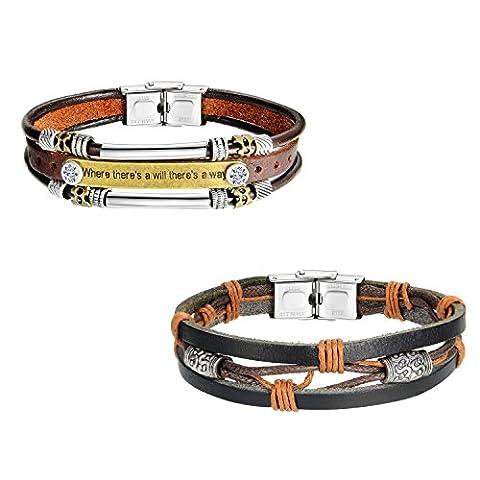 Zhenhui Lot de 2 bracelets en cuir avec fermoir en acier inoxydable Marron/noir