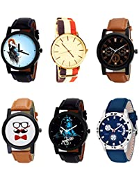 NIKOLA Brand New Collection Mahadev Beard Style Black Blue And Brown Color 6 Watch Combo (B22-B50-B31-B53-B23-...