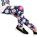 OVERMAL Mädchen Leggings Hosen Mädchen Skinny Blumen Drucken Hosen Stretch Mädchen Slim Bleistift Hosen (3 Jahre, Blau)