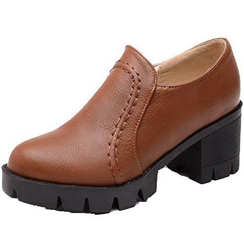 AllhqFashion Femme Couleur Unie Matière Souple à Talon Correct Zip Rond Chaussures Légeres Brun