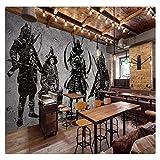 Benutzerdefinierte Fototapete Wandbild Retro Handgemalt Japanische Samurai Zement Wand Japanisches Restaurant Wandbild Wand, 250Cmx175Cm