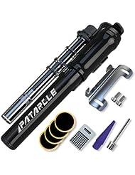 Patarcle Booster–Bomba de bicicleta, tamaño pequeño, 260PSI, alta presión y ahorro de trabajo,ideal para carretera y montaña, compatible con válvula Presta y de Schrader, Act Pro, negro