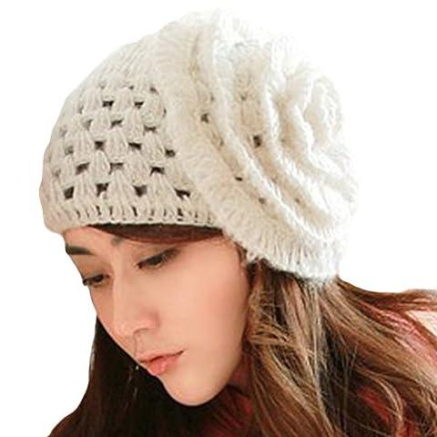 LOCOMO Women Girl Super Big Flower Rose Diamond Eyelet Pattern Knit Beanie Crochet Rib Hat Cap Winter Warm FFH022 White
