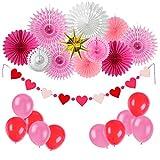 Easy Joy Jahrestag Dekoration Rot Zeremonie Deko Rosa Valentinstag Herz Girlande Papier Fächer Luftballons