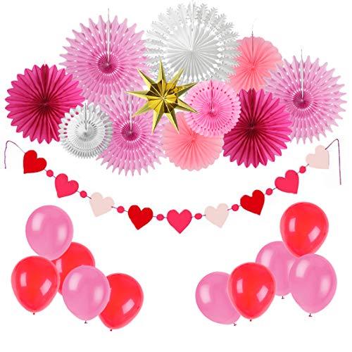 (Easy Joy Jahrestag Dekoration Rot Zeremonie Deko Rosa Valentinstag Herz Girlande Papier Fächer Luftballons)