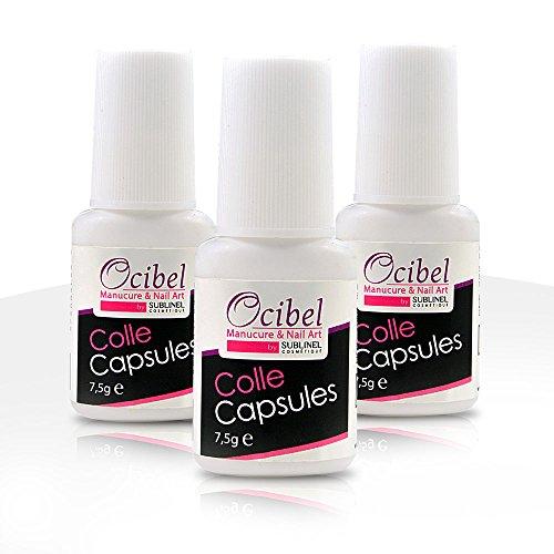 Ocibel 3 Colles Capsules pour Ongles avec Pinceau 7,5 ml