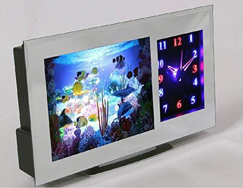 Tank Uhr Fish (LED Kinder Zimmer 3D Aquariumleuchte & Uhr - Dekorations Aquarium Fische Leuchte Deko Lampe mit Laufband Tischlampe modern Effektleuchte Weihnachtsdeko Nachtlicht)