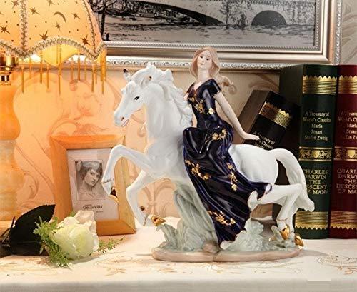 Figurines Figurine Statue Statuette Statues En Porcelaine Vintage Belle Fille Sur Le Cheval En Céramique Sculpture Statue Jeune Fille Figure Décoration Cadeaux Festival Art Et Artisanat Ornamen