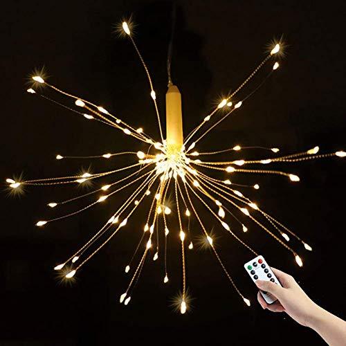 Lumières de feu d'artifice, guirlandes de fées de 180 LED, 8 Modes d'éclairage à Piles étanches avec télécommande, décoration pour intérieur et extérieur (Blanc Chaud)
