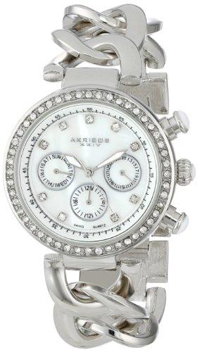 Akribos XXIV da donna, Lady Diamond Swiss multifunzione in madreperla, cristallo argento, catenina intrecciata, con orologio