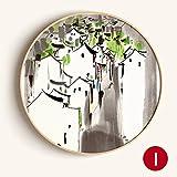 Limiz Wandmalerei kreisförmigen dekorative Malerei neue chinesische Tuschmalerei Studie Schlafzimmer Wohnzimmer Landschaftsmalerei Xuanguan Korridor (Color : I, Size : 50*50cm)