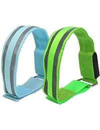 Pulsera con diapositivas LED de alta visibilidad reflectante, banda de seguridad, ultra brillante, para corredores, color azul y verde