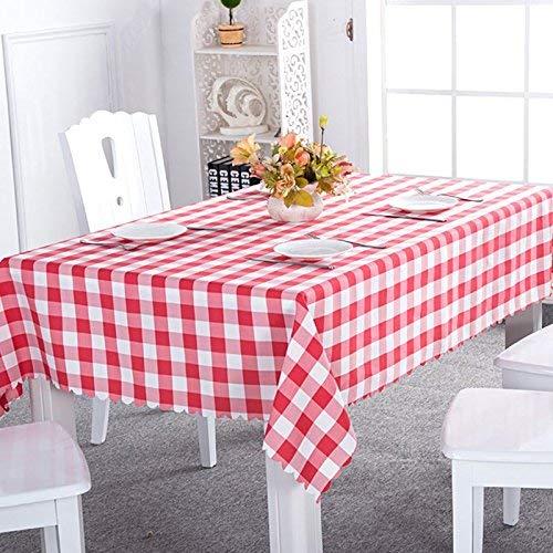 YUEKUI Tischdecke aus Kunststoff, rund, kariert, Rot und Weiß, kariert, 213 cm (Rot Karierte Kunststoff-tischdecke)