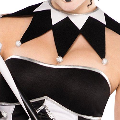 Imagen de harlequin tricksterina miel harley quinn batman baddy disfraz 9unidades tamaño 10–12blanco y negro medias sexy corsé tutú alternativa