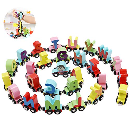 Spielzeug Zug mit Magneten, Qianyou Bunte Holzzug Buchstaben 26 Letters Kinder Lernspiele Magnet DIY Toys Geburtstag Hochzeit Ostern Baby Junge Mädchen Kinderspielzeug Set (ab 3 jahren)