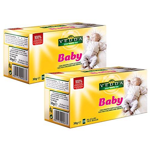 VEDDA, Baby Tee, Fenchel, Kamille, Koriander, Kümmel, Pfefferminze, Kräutertee (Packung mit 2, insgesamt 40 Teebeutel)