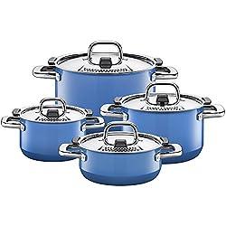 Silit Nature Blue Topfset 4-teilig mit Metalldeckel, Silargan Funktionskeramik, induktionsgeeignet, spülmaschinengeeignet, blau