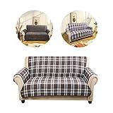 Kinlo 2-Sitzer Couchhusse Sofaüberwurf Stretchhusse Doppelseitig nutzbar Vorderseite: Gitter / Rückseite:Velours(Schokolade)