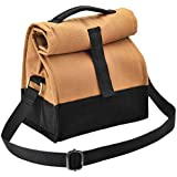 Fatmug Insulated Cotton Canvas Brown Lunch Bag with Sling for Men and Women