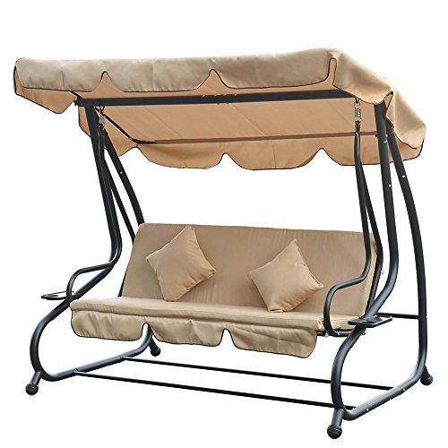 bakaji dondolo letto da giardino 3 posti colore beige con schienale reclinabile tetto parasole 215 x 120 x 170 cm