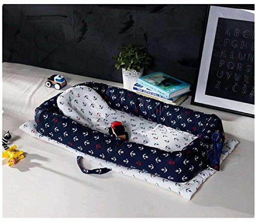 Preisvergleich Produktbild Baby Bett Babynest Kuschelnest Babybett Babynestchen Reisebett Stillkissen (Dunkelblau)