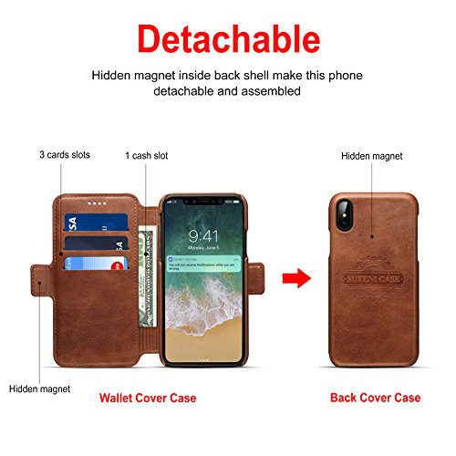 Apple iPhone X Wallet Case with Detachable Back Cover Case, [2 in 1] Magnetic iPhone X Flip Leather Case Cards Holder, 2 Kickstand Mode - Grau Braun