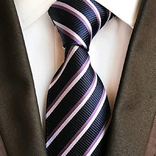 Llzgpzld cravatta/cravatta a righe in seta da uomo da 9 cm per uomo, colloaltoblu dauomo in poliestere di alta qualità, 21