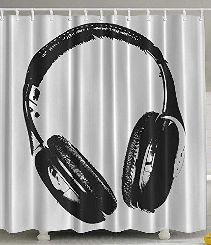 LZHsunni88 Music Shower Curtain Headphones Earphones Artistic Decor by, Modern Musician Gifts for Men Women Contemporary Disco DJ Studio Pop Art Prints for Men Kids Bath Print Fabric Black and White