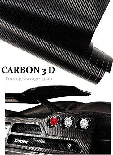 [17,75€/ m²] 100 cm x 152 cm Autocollant Film canaux Air carbone 3D Noir