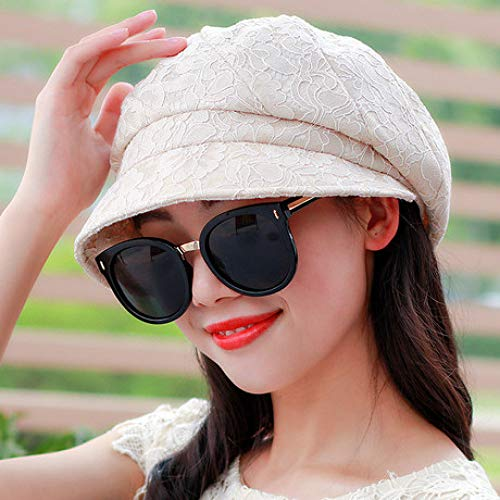 LIUQIAN Barett Barett Damen Frühling und Herbst Spitze achteckige Mütze Baret Faltbare Mode Hut Frühling und Sommer Hut