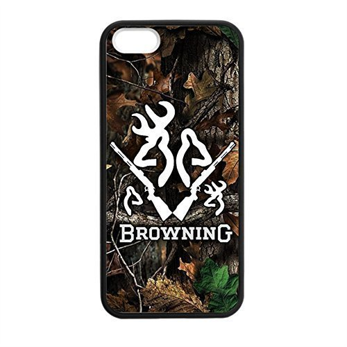 Browning Deer Camo for iPhone 5 5s Case Cover 038690 Rubber Sides Shockproof Protection with Laser Technology Printing Matte Result