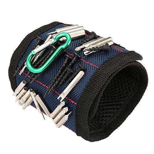 SAFETYON Magnetische Armbänder für Handwerker, Magnetisches Armband mit 10 Magneten und mit verstellbares Klettband, Magnetarmband für Werkzeug wie Nägel, Schrauben, Bohren Bits, blau
