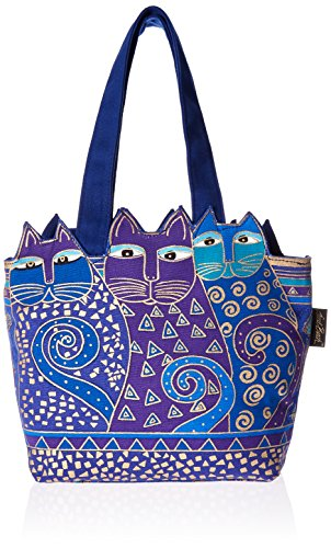 laurel-burch-laurel-burch-tote-zipper-top-12-by-3-1-2-by-8-1-2-inch-tres-gatos-blue-gold