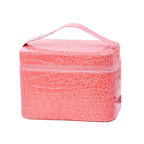 LA HAUTE Trousse de Maquillage, sac de Toilette/Organisateur de Maquillage/Make up/grande mesure/Rose