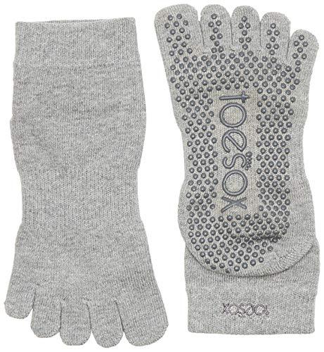 ToeSox Yoga Full Toe Ankle Socken, Unisex Erwachsene M Grau (Heather Grey) Sox Im Team Design