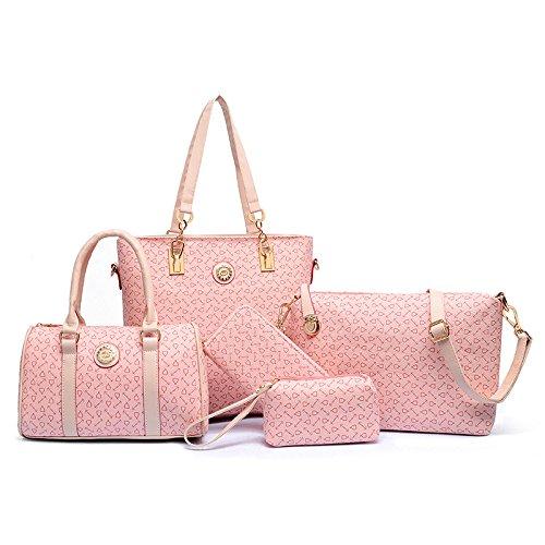 X&L Polyester dunkel braun pure Tasche Sandwich Reißverschluss Taschen Frauen Umhängetasche 6 teiliges set Pink