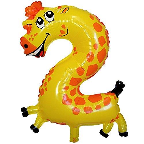 Folienballon Zahl Tiermotive Geburtstag Kindergeburtstag Kinder Zahlen Ballon , Modell:Modell 2 (Giraffe Luftballons)